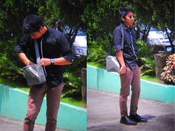 Reyner Cadapan - Thrift Store Black Long Sleeves, From A Friend Gray Shoulder Bag, Fossil Leather Watch, Bench Brown Chinos, Clarks Black Leather Shoes - REBEL