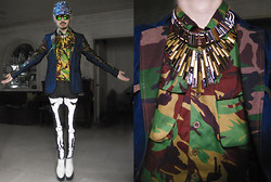Andre Judd - Pixel Camo Print Cap With Angular Visor, Bo Parcon Camo Denim Jacket, Wool Camo Button Down Shirt, Ray Of Light Neckpiece, Multi Metal Link Neckpiece, Handpainted Bones Skinnies, White Flatforms - THY CAMO COME