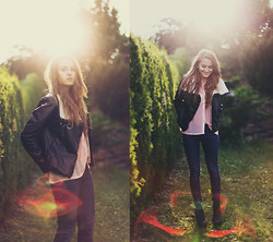 Jessica Christ - Jeffrey Campbell Lita, H&M Leather Jacket, H&M Top, Esprit Jeans - Look at the bright side