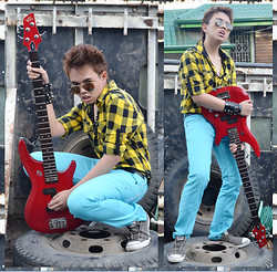 Jann Christian Bungcaras - Ray Ban Sunglasses, Diy Necklace, Diy Bands, Penshoppe Longsleeves, Penshoppe Slim Fit Pants, Converse Sneakers - I might even be a ROCKSTAR!!!
