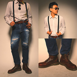 Joshua Tjandra - Dr. Martens Boots, Levi's® Ripped Jeans, Levi's® Belt, White Shirt, Suspenders, Round Glasses - Old time bud