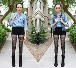 Allie Finch - Forever 21 Lace Black Leggings, Hot Topic Black Boots, Denim Shirt, Skeleton Hand Sweater Clips, Forever 21 Black Bow Ring, Charlotte Russe Black Lace Shorts, Love Culture Denim Vest, 7mm Silver Pyramid Studs (Added By Hand) - Denim, Denim, Studs, Leggings
