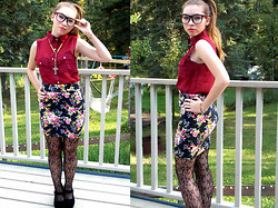 Evadne Norberto - Sws (Street Wear Society) Red Blouse, Sws (Street Wear Society) Floral Pencil Skirt, Sws (Street Wear Society) Black Heels - LOOK AT HIM, LOOK AT ME
