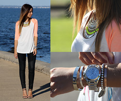 Friend in Fashion * - Minkpink Baseball Tee, Zara Leather, Fiel Sol Neon Jewelled, Michael Kors Arm Party - BE JEWELLED