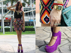 Patricia Prieto - Forever 21 Tank Top, Wardrobe Check Peplum Skirt, Das Heels, Givenchy Bag, Arm Candy Vintage Casio - Colour Pop