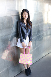 Yuri Lee - Oak Leather Jacket, River Island Spike Headband - VS Pink!