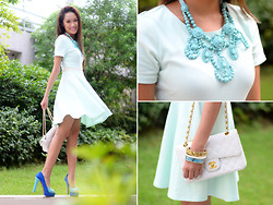 Laureen Uy - Zara Dress, Frou Necklace, Chanel Bag, Sugarfree Shoes - Blue (BMS)