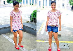 Monica Mae Evangelista - Topshop Floral Blouse, Cropped Denim Shorts, Red Flats - 090912