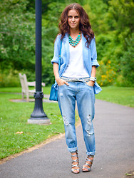 "Veronica P - Levi's® Jeans, Boutique9 Sandals, Necklace - ""The suit"""