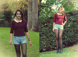 Melinda S. - H&M Black Boots, Black Tights, Levi's® Vintage Shorts, H&M Coral Peter Pan Collar Top, H&M Burgundy Sweater - If you want to be happy, be.
