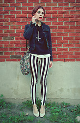 Aileen E. - Diy Sweater, Ebay Striped Pants, Thrifted Jean Jacket - Remember what the dormouse said