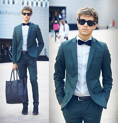 Adam Gallagher - Topman Suit, Zara Velvet Bowtie, Coach Bag - Mercedes benz Fashion Week - Day 3