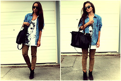 Nina Star - Levi's® Denim Shirt, Marshalls Pants, Zara Boots, Zara Bag, Zara Shirt, Ray Ban Sunnies - Leo Denim