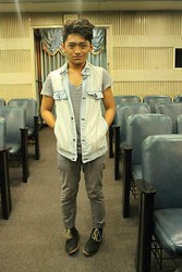 Pao Mandac - Zara Sailor Stripes, Oxygen Denim Vest, Folded And Hung Gray Skinnies, Thrift Shop Boots - Denimized Curly Tops