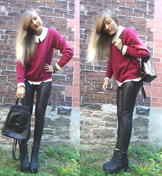 Kendra B - Vintage Pearl Collared Blouse, Thrift Store Burgandy Sweater, Thrift Store Leather Backpack - Can't get enough leather.