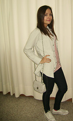 Alejandra Osma - Converse White, Tennis Denim Shirt, Denim Co Blue Jeans, Zara Striped Tank Top - Denim on Denim
