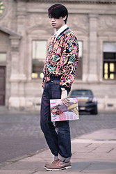 Gerry Robinson - Topman White Button Down, Thrifted Printed Bomber Jacket, Topman Straight Cut Dark Denim Jeans, Aldo Black Leather Watch, Topman Brown Boat Shoe Boots, Vogue British Magazine - Fashion's Bible and Style
