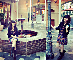 Maricris Lucero - Forever 21 Diagonal Printed Dress, Hollister Dark Blue Cardigan, Black Boots - Classic blues..