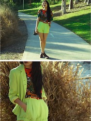 Valerie S - Thrifted Suit, Thrifted Top - VFNO - Neon is great