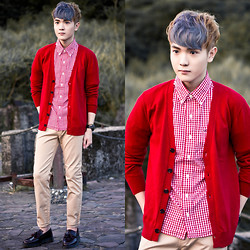 Dake Hu - Hollister Shirt, Lucarne Pants, Lucarne Cardigan, Dr. Martens Shoes - Autumn