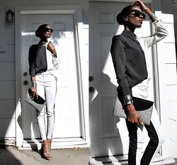 VintageVirgin Jessica - B&W Colorblock Blouse, B&W Colorblock Cigarette Pants, Vintage B&W Stripe Clutch, Target Leopard Wedges - SHADE