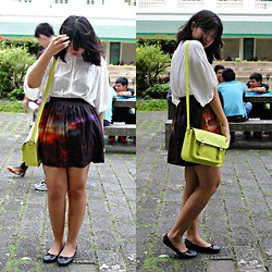 Irish Maureen Manuel - Oxygen White Buttoned Down Blous, Oxygen Cosmic Printed Skirt, Parisian Yellow Green Satchel, Parisian Simple Black Flats - Outer Space :State of Mind