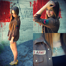 Amanda A.P. - Diy Jacket, Claire`S Cross Ring, New Look Shoes, H&M Jewelry - Back to the army