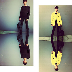 Joao Abreu - Black Mesh Shirt, Black Jeans, Yellow Trenchcoat, Bag, Boots - Impermanence