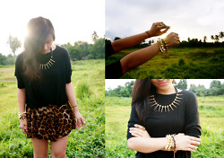 Ganna Athena G - Topshop Black Top, Trendphile Manila Spiked Necklace, Babee J's Arm Candies - AMAZONA