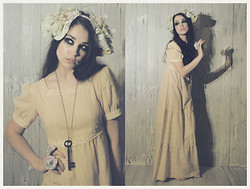 Natanya Waybourne - Vintage Dolly Dress, Flutterbydaisy Flower Crown, Vintage Old Key Necklace, Flutterbydaisy Flower Rings - He Bought me a Key to Keep