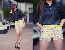 Shar Regis - Collared Top, Belted Floral Shorts, Ankle Strap Wedge - Native Runaway