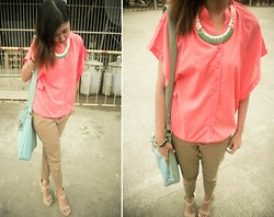 Kathleen Lira - Department Store Orange Sheer Top, Thrifted Khaki Pants, Boutique Gold Necklace - Live and grab your future