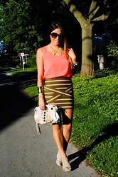Christina C - Holt Renfrew Bandage Skirt, H&M Blouse, Winners Collar, Aldo Nude Wedges - Bandaged Up