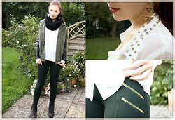Jen Z - Vero Moda Blouse, Zara Pants, H&M Earrings, Topshop Leather Military Jacket - Welcome the cold