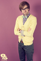 Lawrence M. - Tommy Hilfiger Bow Tie, Matinique Purple Shirt, Matinique Yellow Cardigan, Matinique Leather Belt, Matinique Jade Green Pants - The Colourful Geek