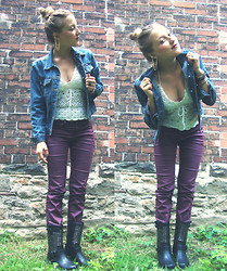 Kendra B - Thrift Store Jean Jacket, Winners Burgandy Pants, Thrift Store Crochet Top, Winners Studded Boots - Studs and Burgandy.