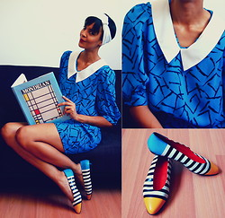 Luna Nova - Vintage Collar Dress, Vintage Color Block Flats - Primaire