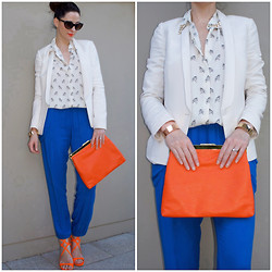 Yvette H - Sportsgirl Leather Look Clutch, Country Road White Blazer, Jimmy Choo 'Lance' Sandals., Sass And Bide Pants, Zara Owl Button Down Shirt - Colour Clash...
