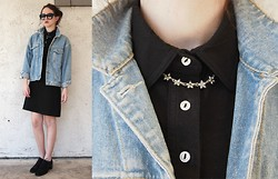 Miranda Grove - American Apparel Collared Dress, Thrift Denim Jacket - You and Me and the Devil Makes Three