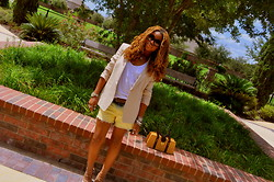 Tynette Jones - Dkny Blazer, Bdg Tank, Bdg Shorts, Bcbg Pumps, Juicy Couture Handbag - 2:30 pm in texas.