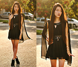 Jennifer Wang - Oasap Chiffon Cape Dress, Romwe Lock And Key Belt, Forever 21 Cut Out Cuffs - 17TH BIRTHDAY!