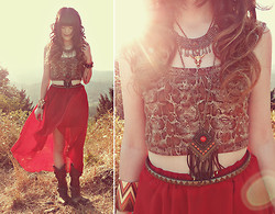 Ashlei Louise . - Durango Boots, Romwe Hi Lo Skirt, Vanessa Mooney Brass Necklace, Vanessa Mooney Longhorn Necklace, Romwe Patterned Bracelet, Fox House Snakeskin Crop Top, Shop Lately Friendship Bracelet, Beginning Boutique Claw Ring - 'Cause the devil works quick, you know it don't take long