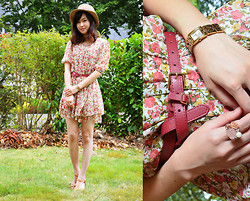 Anne - Hat, Chiffon Floral Dress, Bani Wedge Sandals, Guess? Watch, Sanfu Belt, Viennois Flower Ring - Floral for my 20th birthday ! ♥