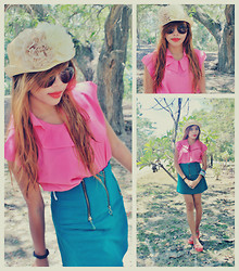Shelvie Fernan - Floran Hat, Sunglasses, Pink School Girl Top, Oxygen Skirt - Binge