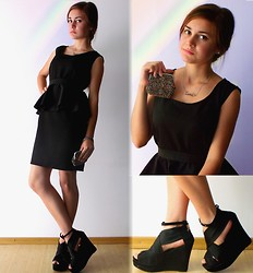 Andreea Mircea - Selfmade Peplum Black Dress, Diva Style Wedges, Vintage Mini Clutch - Little black dress