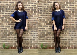 Kirsti Lee - Vintage Velvet Blazer, Primark Navy Playsuit, New Look Houndstooth Tights, New Look Black Brogues - Nobody said it was easy