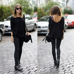 MAGDALENA . - Juicy Couture Sunglasses, Mango Top, Cheap Monday High Waist Jeans, H&M Biker Boots - Paint it black.