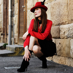 Lola Devils - Gina Tricot Blouse, Asos Hat, Zara Skirt, Buffalo Boots - GIVEAWAY on my blog - Amplified Lynyrd Skynyrd Body