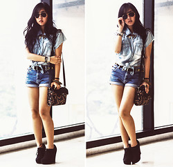 Andie Javelosa - Forever 21 Shoes, Topshop Bag, Denim Shorts, Studded Top, Ray Ban Aviator Sunglasses - Denim on Denim