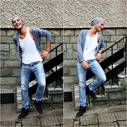 Vitto Kov - Levi's® Hat, United Colors Of Benetton Cardigan, H&M Jeans, Bershka Sneakers - Afternoon fun